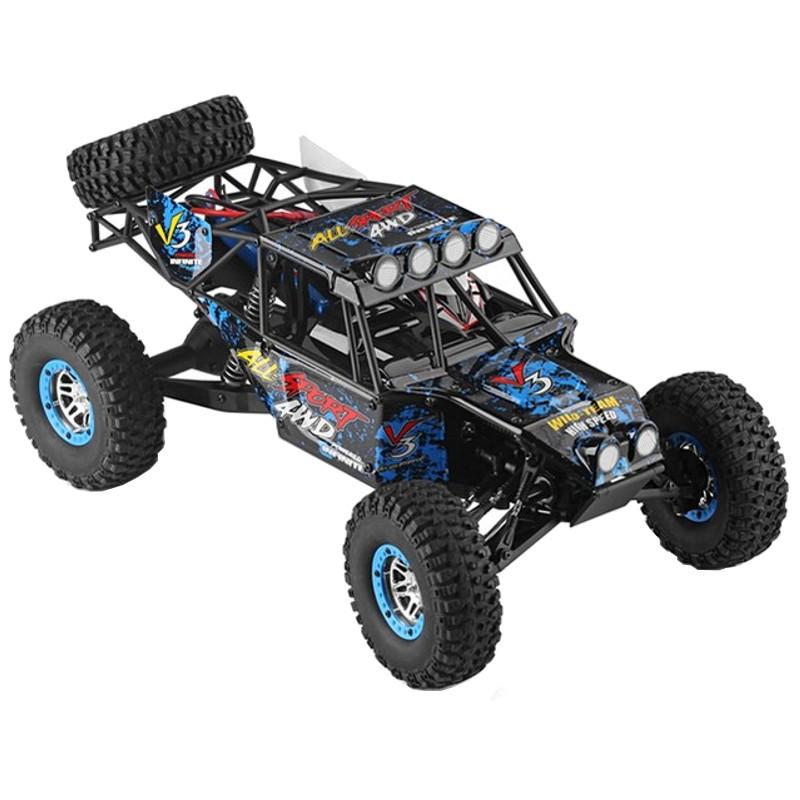 WLtoys 10428-2 1/10 4WD Crawler - Coche RC Eléctrico - Color azul (fondo negro con muchas salpicaduras de pintura) - Hasta 100 metros de alcance - 40 KM/h de velocidad- 4WD (4x4)- 1200 mAh Batería LI-PO - Waterproof (No Sumergible) -Crawler RC Car