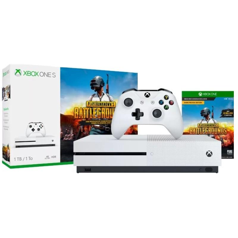 Xbox One S 1TB + PlayerUnknown's Battlegrounds - Pacote com comando e PUBG, Controle sem fio Xbox One, Assinatura de 1 mês para Xbox Live Gold, Teste de Passe de Jogo Xbox por 1 mês, 4K